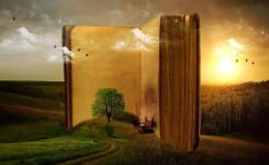 Boek met boom en huisje in