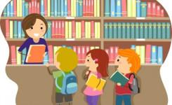 Kinderen gaan naar de bibliotheek