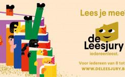 Banner van De Leesjury met getekende boeken en kinderen